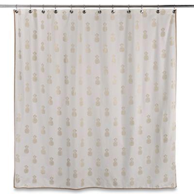 Sam Hedaya Golden Pineapple Shower Curtain
