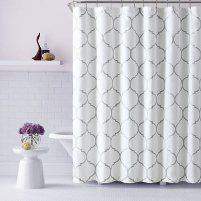 Victoria Ogee Shower Curtain In Silver
