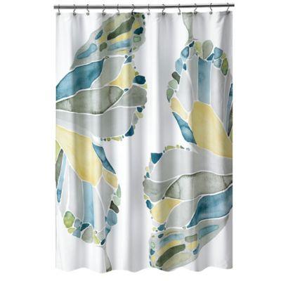 shell rummel butterfly shower curtain in yellow