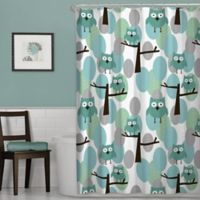 Owl Shower Curtain in Blue