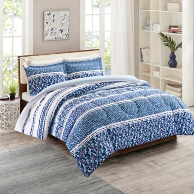 intelligent design fleur reversible twintwin xl duvet cover set in blue