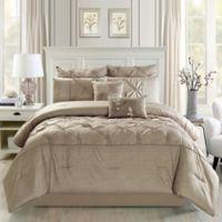 Pintucks 8-Piece Queen Comforter Set in Taupe