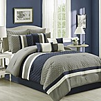 Patchwork 8-Piece Queen Comforter Set in Navy/Grey