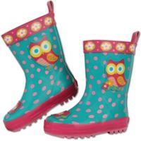 Stephen Joseph® Size 10 Owl Rain Boot in Teal