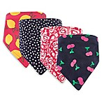 Hudson Baby 4-Pack Cherry Bandana Bib Set in Pink