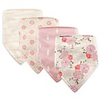 Hudson Baby® 4-Pack Boho Flower Cotton/Poly Bandana Bibs in Cream