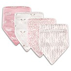 Hudson Baby® 4-Pack Feather Cotton/Poly Bandana Bibs in Grey