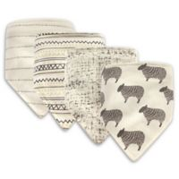 Hudson Baby® 4-Pack Sheep Cotton/Poly Bandana Bibs in Grey