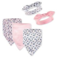 Hudson Baby® 5-Pack Classic Floral Bib & Headband Set in Pink