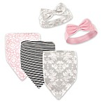 Hudson Baby® 5-Pack Damask Flora Bib & Headband Set in Grey