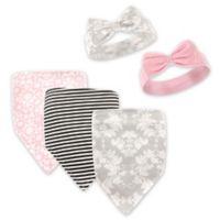 Hudson Baby® 5-Pack Damask Flora Bib & Headband Set in Grey