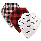 Hudson Baby® 3-Pack Mustache Cotton/Fleece Bandana Bibs in Red
