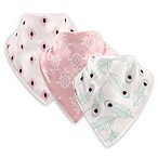 Hudson Baby® 3-Pack Peacock Cotton/Fleece Bandana Bibs in Pink