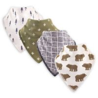 Hudson Baby® 4-Pack Bears Cotton/Fleece Bandana Bibs in Green