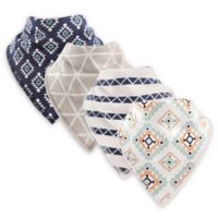 Hudson Baby® 4-Pack Aztec Cotton/Fleece Bandana Bibs in Navy