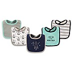 Hudson Baby® 5-Pack Rocket Drooler Bib Set in Teal