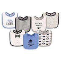 Hudson Baby® 7-Pack Gentleman Drooler Bibs in Blue