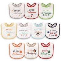 Hudson Baby® 10-Pack Holiday Drooler Bibs in White
