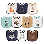Hudson Baby® 10-Pack Raccoon Drooler Bibs in Brown