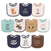 Hudson Baby® 10-Pack Raccoon Drooler Bibs in Brown