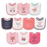 Hudson Baby® 10-Pack Fox Drooler Bibs in Pink