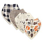Hudson Baby® 4-Pack Forest Muslin Bandana Bibs in Orange