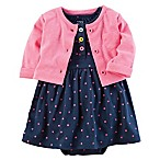 carter's® Size 3M 2-Piece Polka Dot Bodysuit Dress and Cardigan Set in Pink/Navy