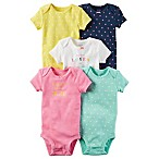 carter's® Size 9M 5-Pack Dots Short Sleeve Bodysuits