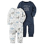 carter's® Size 3M 2-Pack  I Woke Up This Cute  Babysoft Coveralls in Navy