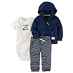 carter's® Size 9M 3-Piece Wild Stripe Bodysuit, Hoodie, and Pant Set in Navy