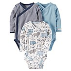 carter's® Newborn 3-Pack Side-Snap Bodysuits in Blue