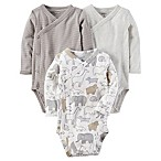 carter's® Newborn 3-Pack Side-Snap Bodysuits in Grey
