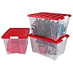 IRIS® 54 qt. Holiday Storage Totes in Red (Set of 3)