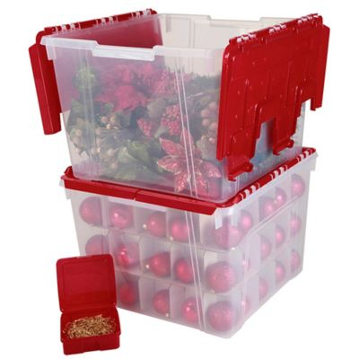 IRIS® Wing Lid Storage Box With Ornament Divider In Red