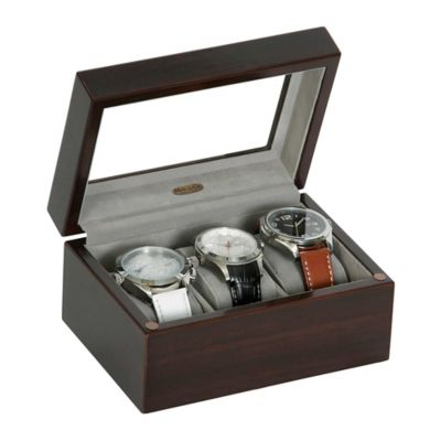 Granby Glass Top Wooden Watch Box In Mahogany