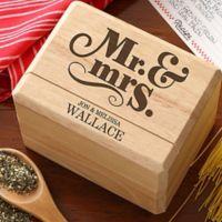 "Happy Couple ""Mr. and Mrs."" Wood Recipe Box"