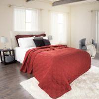 Nottingham Home Solid King Quilt in Black/Burgundy