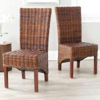Safavieh Ridge Rattan Side Chair in Dark Brown