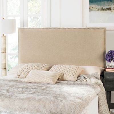 Safavieh Sydney Queen Upholstered Headboard In Hemp With Silver Nailhead Trim