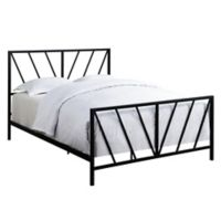 Pulaski All-In-One Chevron Queen Metal Bed in Black