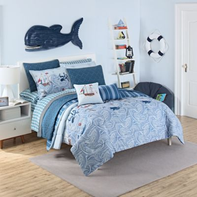 Waverly Kids Ride The Waves Reversible Twin Comforter Set In Aqua