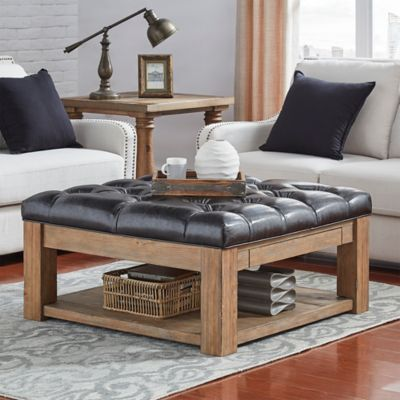 Verona Home Allie Button Tufted Cocktail Table Ottoman In Brown