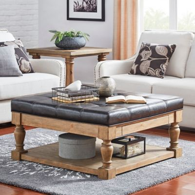 Verona Home Annie Tufted Top Cocktail Table/Ottoman In Brown