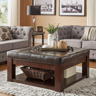 Verona Home Allie Espresso Tufted Top Cocktail Table/Ottoman In Brown