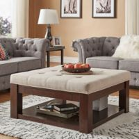 iNSPIRE Q® Allie Espresso Tufted Top Cocktail Table/Ottoman in Beige