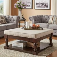 iNSPIRE Q ® Annie Espresso Smooth Top Cocktail Table/Ottoman in Beige