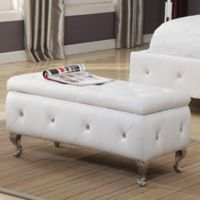 K&B Furniture B5104 Upholstered Bench in White