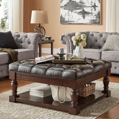 Verona Home Annie Button Tufted Cocktail Table/Ottoman In Brown