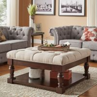 Verona Home Annie Button Tufted Cocktail Table/Ottoman in Beige