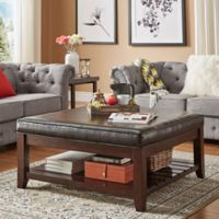 Verona Home April Smooth Linen Cocktail Table in Brown